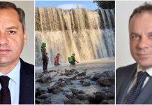 Da sinistra il presidente del Parco del Pollino Domenico Pappaterra, i soccorritori al Raganello e il senatore M5s Arnaldo Lomuti