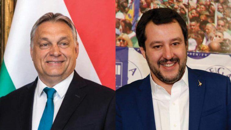 Un momento dello storico incontro tra Salvini e Orbàn