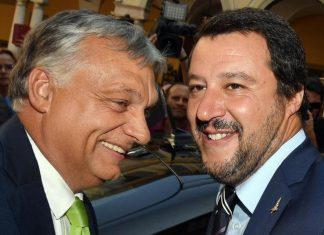 Viktor Orbàn e Matteo Salvini durante l'incontro a Milano