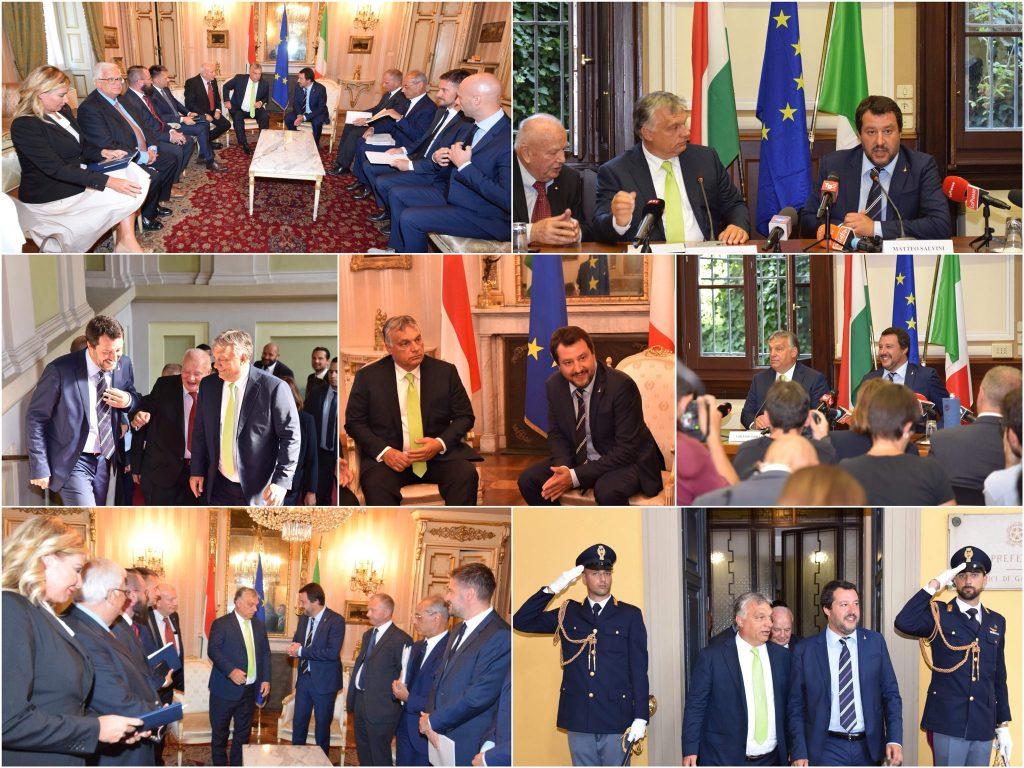 combo foto incontro Salvini Orbàn