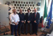 Da sinistra: Michele Albanese, Giuseppe Soluri, Giovanni Bombardieri e Carlo Parisi nell'ufficio del Procuratore della Repubblica di Reggio Calabria