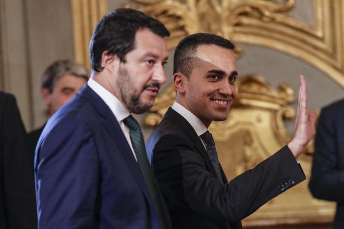 Luigi di Maio e Matteo Salvini al Quirinale durante il giuramento