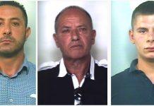Da sinistra gli arrestati per l'omicidio Gioffrè Domenico Fioramonte, Saverio Rocco Santaiti eGiuseppe Domenico Laganà Comandè