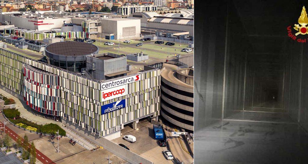 Il centro commerciale teatro della tragedia. A destra il canale di areazione dov'è precipitato Andrea Barone