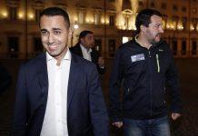 Luigi Di Maio e Matteo Salvini al termine del vertice a Palazzo Chigi