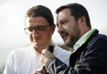 Maurizio Fugatti con Matteo Salvini in un comizio per le regionali in Trentino