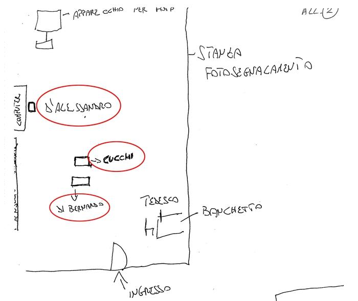 Il disegno della stanza all'interno della Compagnia Casilina dove venne portato Stefano Cucchi contenuto nel verbale di interrogatorio di Francesco Tedesco