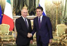 Vladimir Putin con Giuseppe Conte