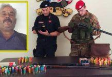 I fucili e le munizioni trovate ad Antonio Sorbara