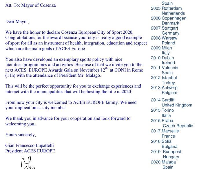 lettera cosenza citta europea sport