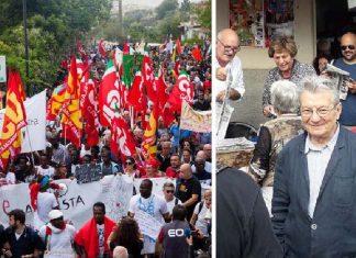 La manifestazione a Riace A destra l'ex leader di Lotta continua Adriano Sofri