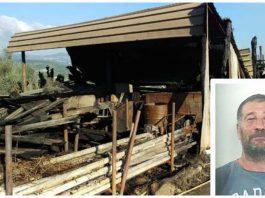Il capannone dato alle fiamme, nel riquadro Giuseppe Donato