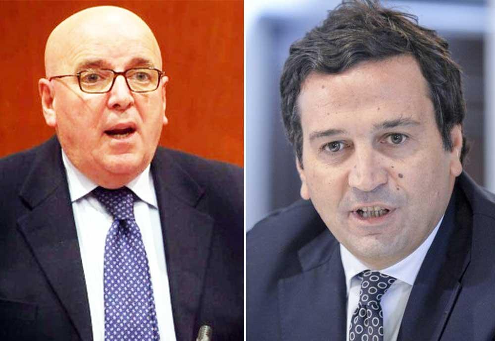 Il governatore della Calabria Mario Oliverio e a destra il consigliere di Fratelli d'Italia Fausto Orsomarso