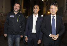 Il presidente del Consiglio Giuseppe Conte e i vicepremier Matteo Salvini e Luigi Di Maio