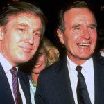 Il giovane Donald Trump con l'allora presidente Usa George H. Bush