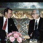 Il presidente degli Stati Uniti George Bush senior con l'allora capo dello Stato Francesco Cossiga