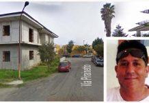 La strada in cui è stato ritrovato agonizzante, Pasquale Carruccio, nel riquadro