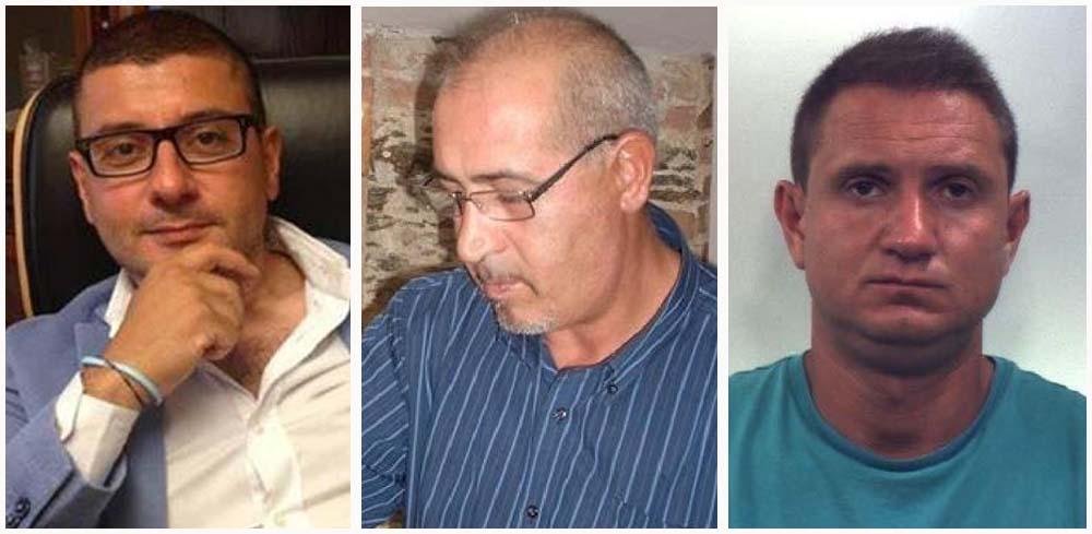 Da sinistra due vittime: l'avv. Francesco Pagliuso, Gregorio Mezzatesta e il presunto killer Marco Gallo
