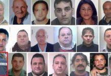 Alcuni degli arrestati nell'operazione Six Towns a Crotone