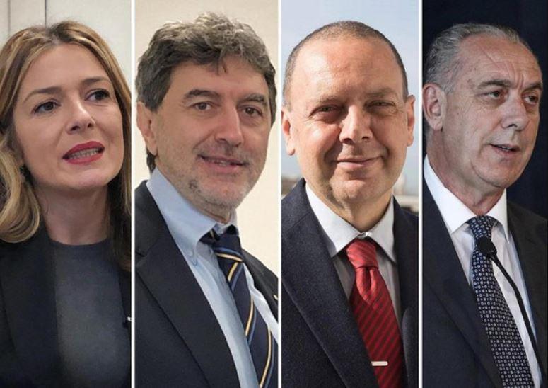Candidati alla Presidenza dela Regione Abruzzo: da sinistra Sara Marcozzi, Marco Marsilio, Stefano Flajani e Giovanni Legnini