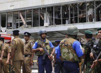 Polizia davanti il Shangri-La Hotel a Colombo, Sri Lanka