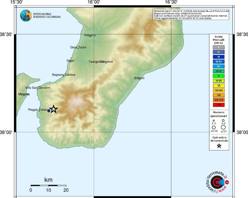Scossa di terremoto magnitudo 2.9 a Reggio Calabria