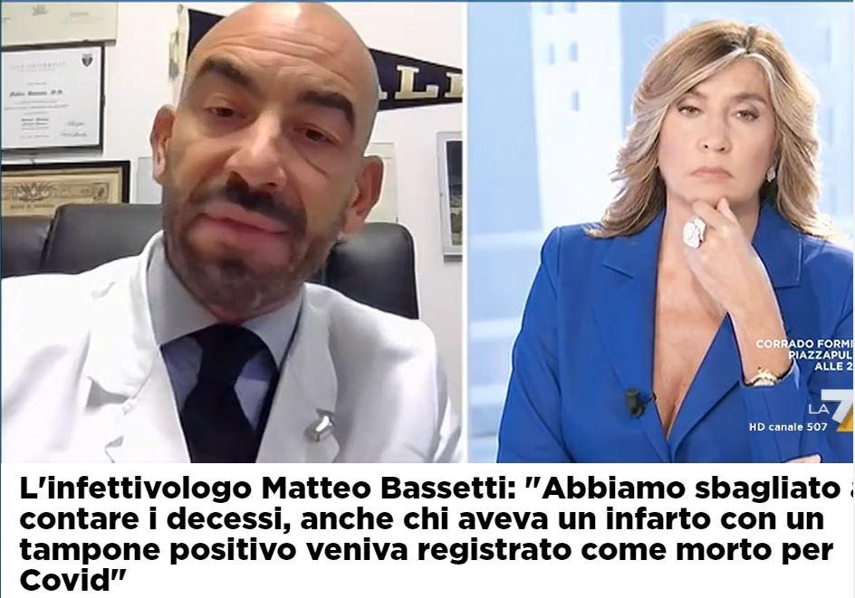 """Bassetti svela: """"Nel conteggio dei decessi Covid anche morti per infarto"""""""